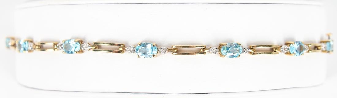 14K YELLOW GOLD BLUE TOPAZ DIAMOND BRACELET