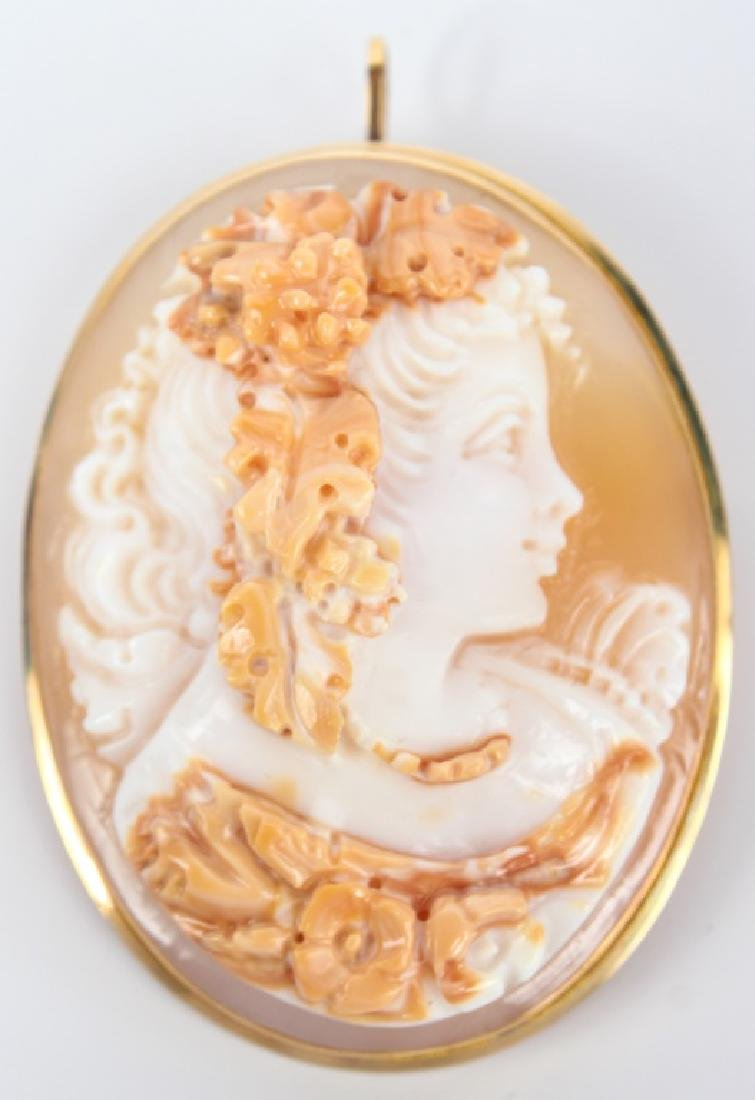14K YELLOW GOLD SHELL CAMEO BROOCH PENDANT