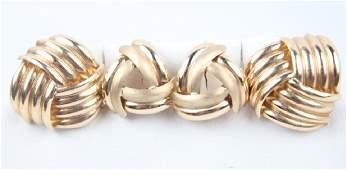 LADIES 14K YELLOW GOLD EARRINGS - 2 PAIRS