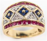 14K YELLOW GOLD SAPPHIRE RUBY DIAMOND RING