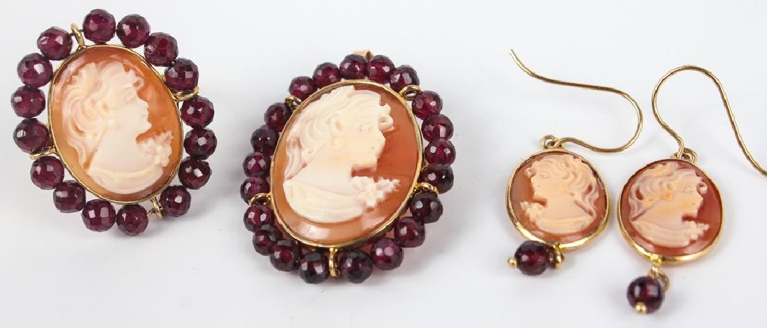14K YELLOW GOLD SHELL CAMEO JEWELRY SET