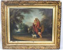 19TH C. MADONNA & CHILD PAINTING OIL ON CANVAS