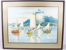 WILLIAM HENRY BOATS IN HARBOR WATERCOLOR PAINTING