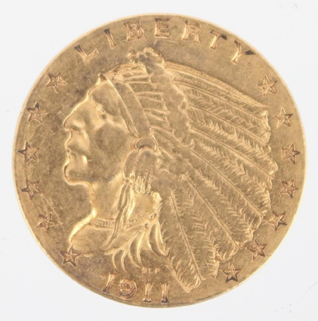 $2.50 UNITED STATES 1911 INDIAN HEAD GOLD COIN