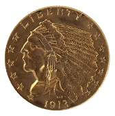 $2.50 UNITED STATES 1913 INDIAN HEAD GOLD COIN