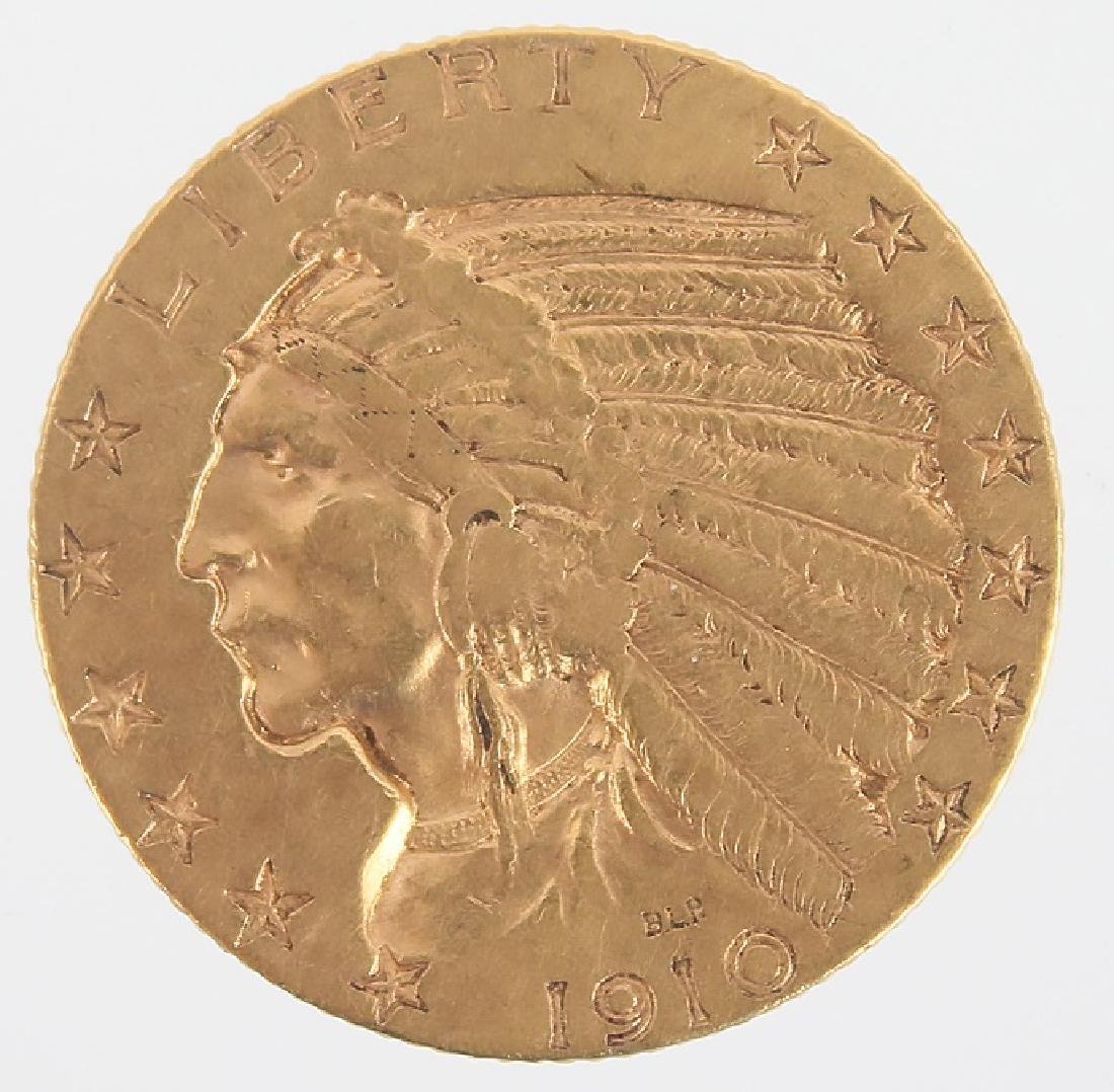 $5.00 UNITED STATES 1910 INDIAN HEAD GOLD COIN