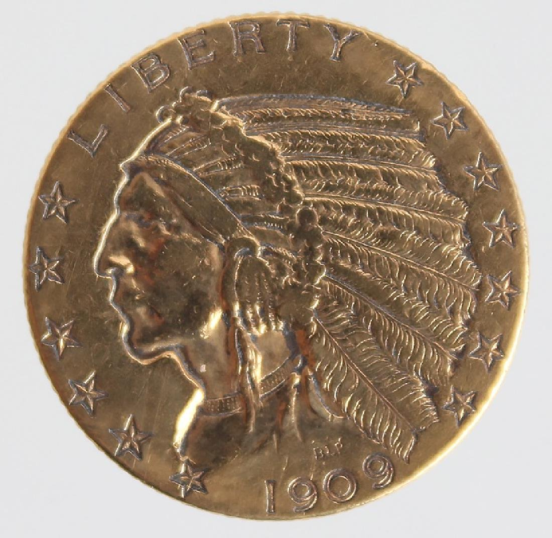 $5.00 UNITED STATES 1909 INDIAN HEAD GOLD COIN