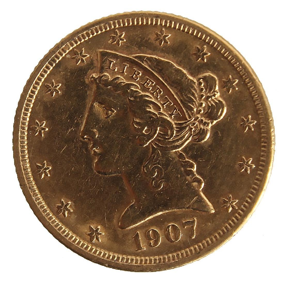 $5.00 UNITED STATES 1907 LIBERTY HEAD GOLD COIN