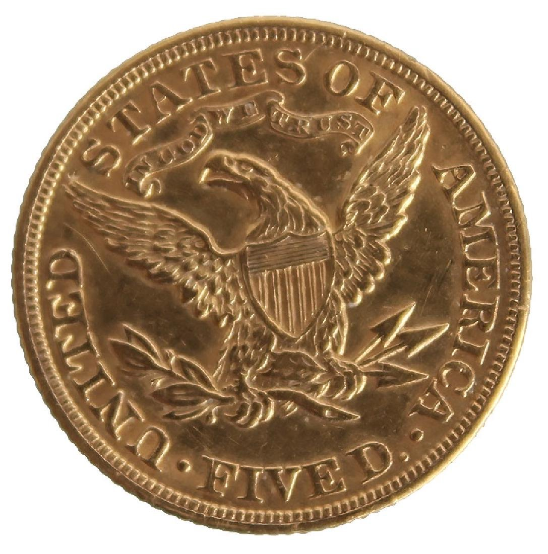 $5.00 UNITED STATES 1907 LIBERTY HEAD GOLD COIN - 2