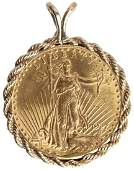 $20.00 UNITED STATES 1927 ST. GAUDENS GOLD PENDANT