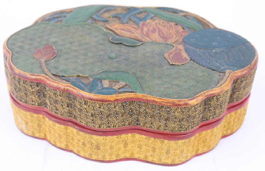 CHINESE LOTUS & LILY PAD LACQUER BOX