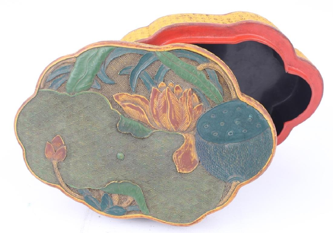 CHINESE LOTUS & LILY PAD LACQUER BOX - 2