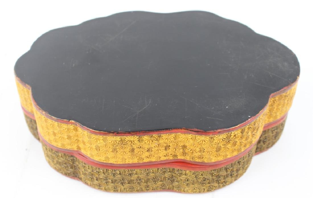 CHINESE LOTUS & LILY PAD LACQUER BOX - 4