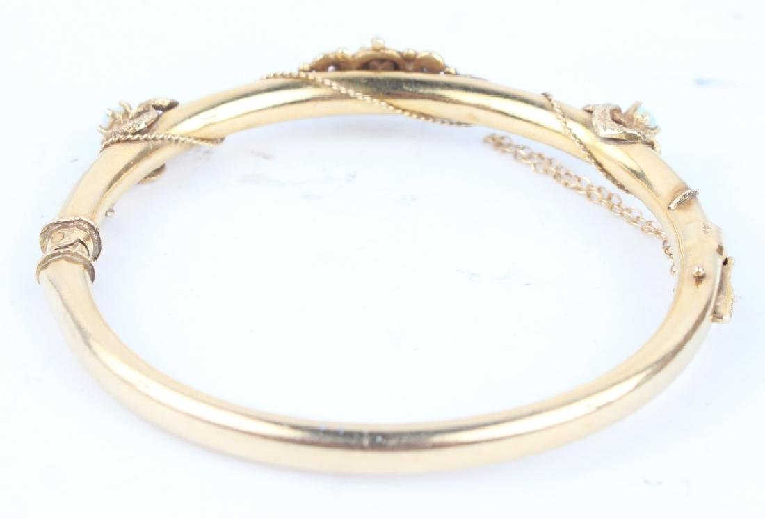 14K YELLOW GOLD & OPAL BANGLE BRACELET - 2