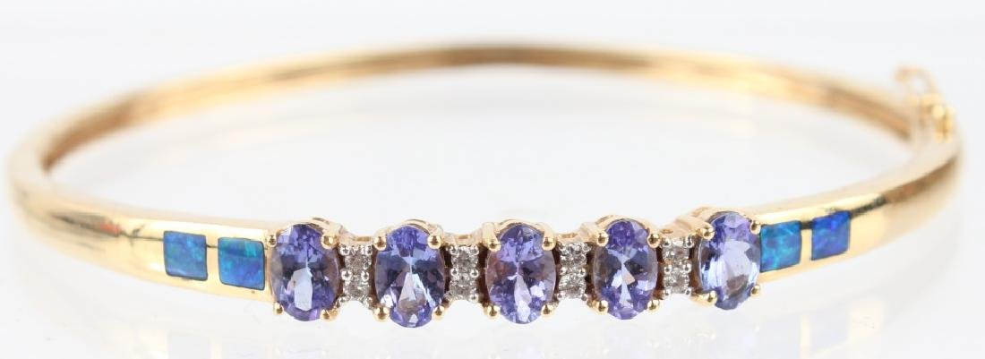 14K YELLOW GOLD TANZANITE & OPAL BRACELET