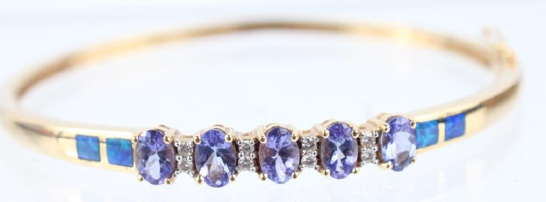 14K YELLOW GOLD TANZANITE & OPAL BRACELET - 2