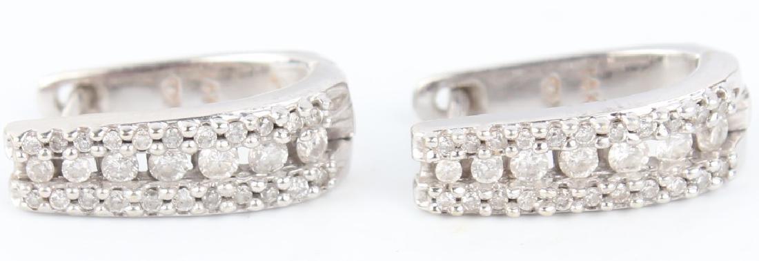 14K WHITE GOLD DIAMOND HOOP EARRINGS - 2