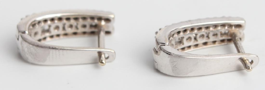 14K WHITE GOLD DIAMOND HOOP EARRINGS - 3