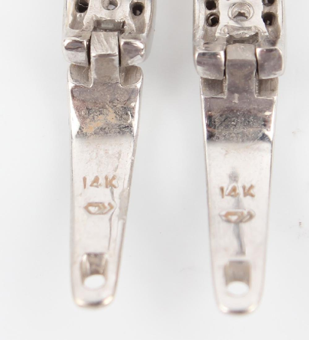 14K WHITE GOLD DIAMOND HOOP EARRINGS - 4