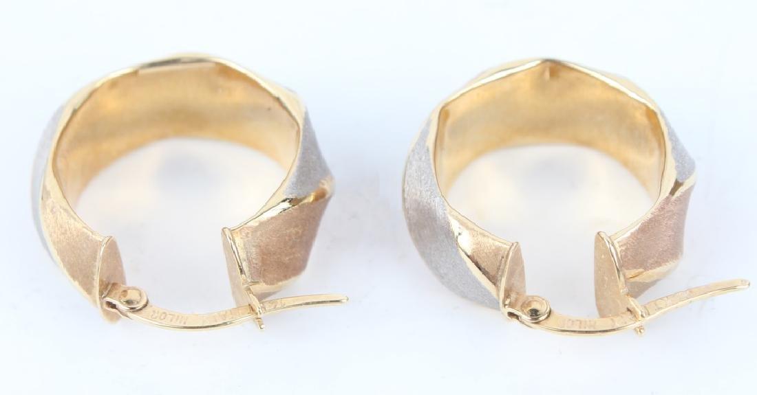 14K TRI-COLOR GOLD HOOP EARRINGS - 2