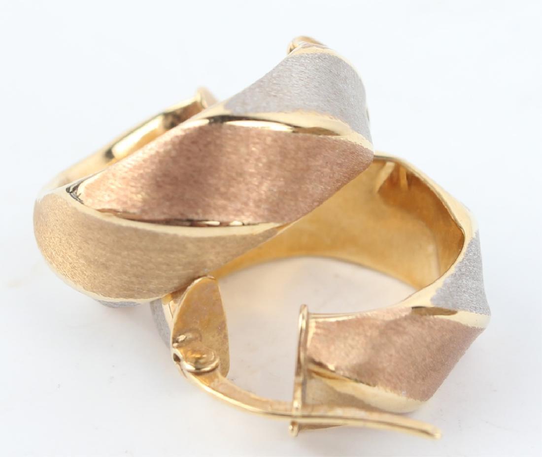 14K TRI-COLOR GOLD HOOP EARRINGS - 3