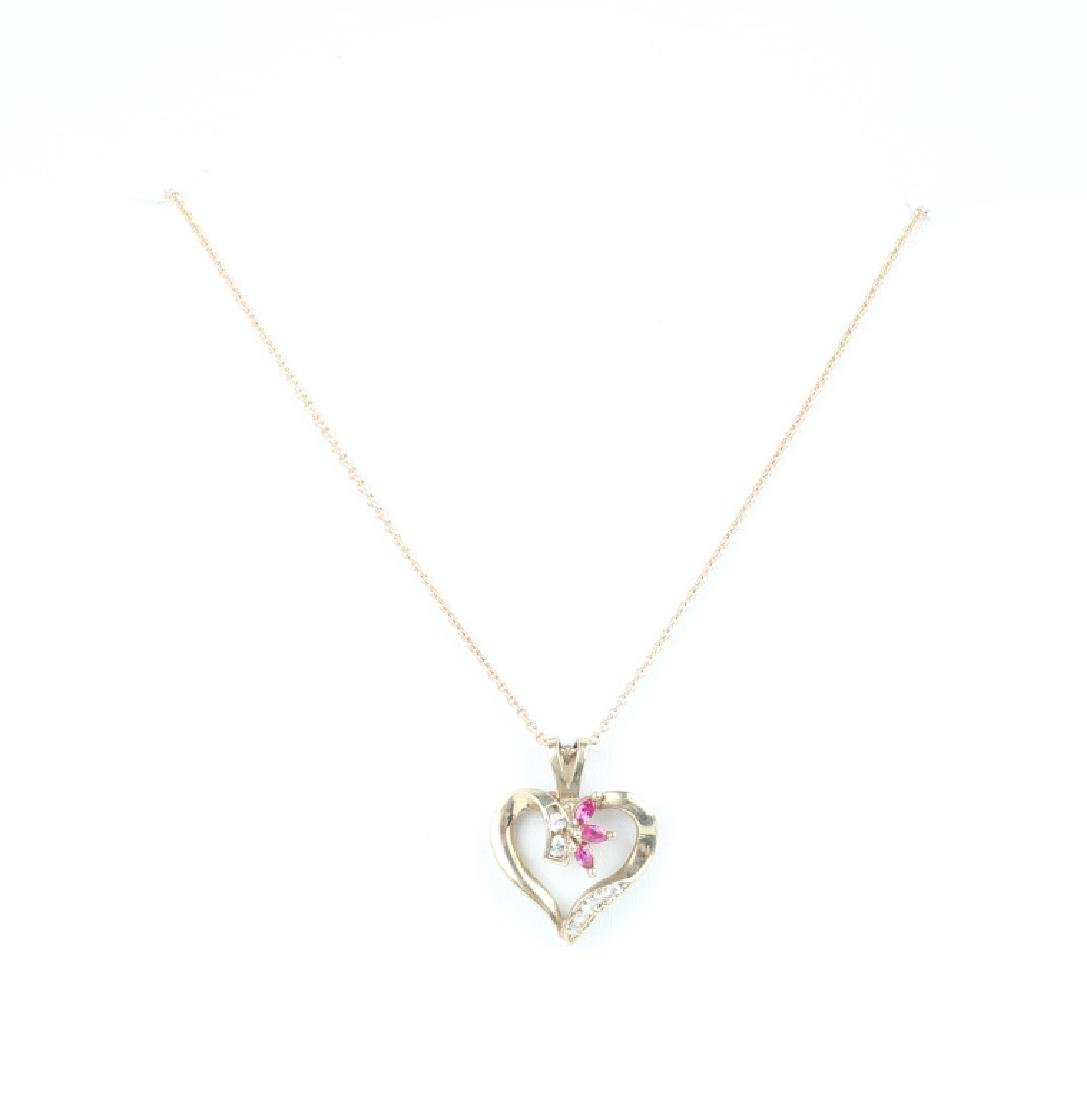 LADIES 14K YELLOW GOLD DIAMOND RUBY HEART NECKLACE