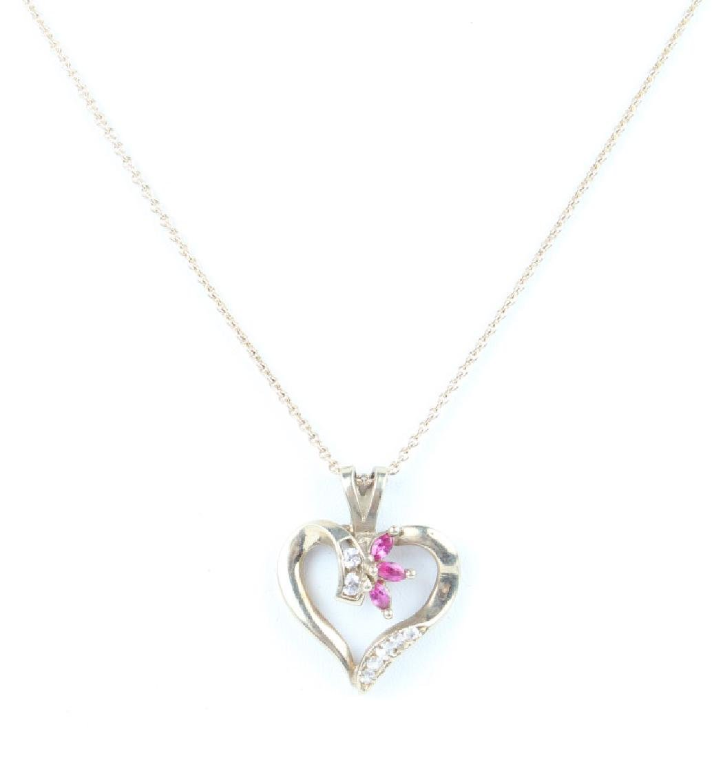 LADIES 14K YELLOW GOLD DIAMOND RUBY HEART NECKLACE - 2