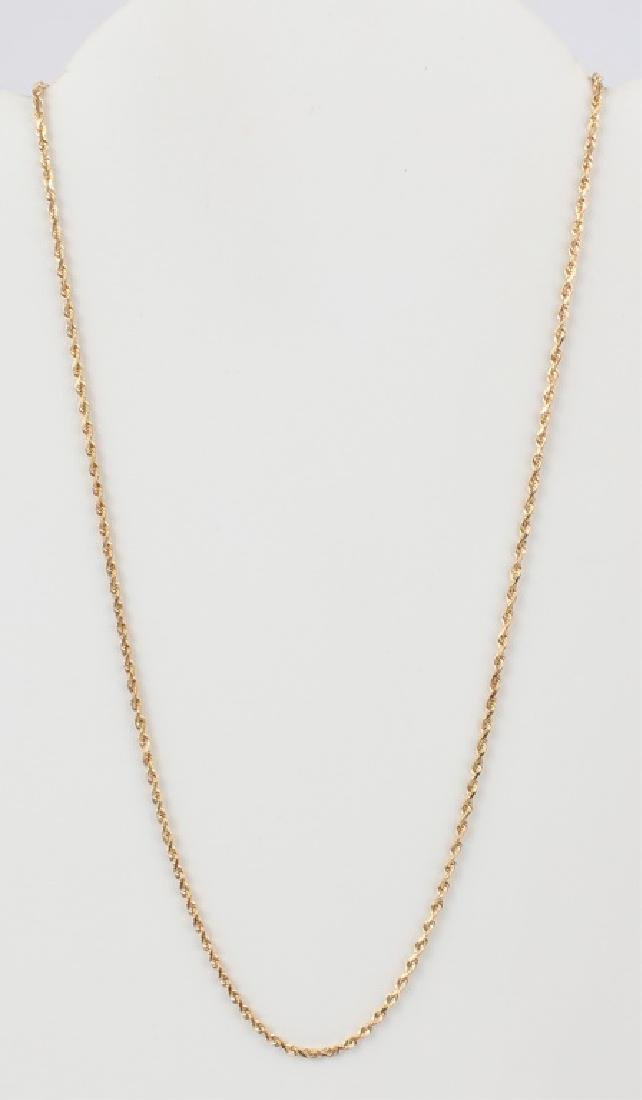 LADIES 14K YELLOW GOLD TWISTED ROPE NECKLACE