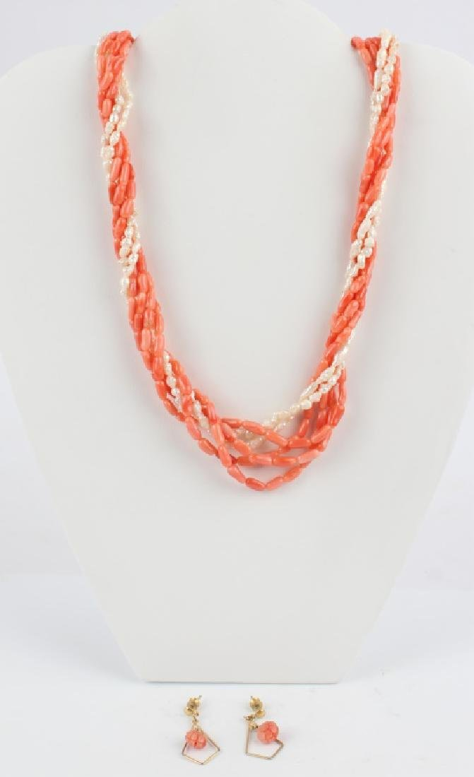 CORAL & PEARL BEADED NECKLACE & EARRINGS