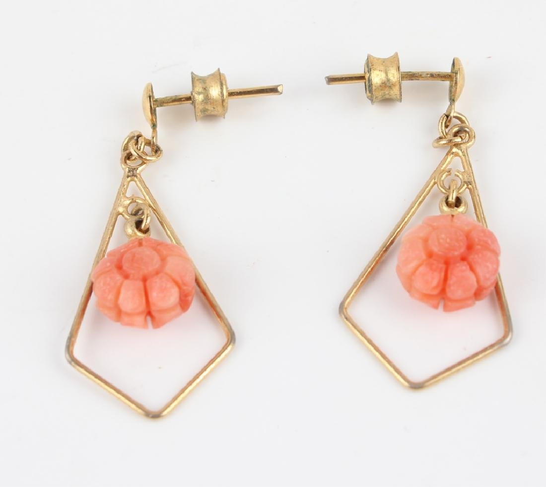 CORAL & PEARL BEADED NECKLACE & EARRINGS - 2