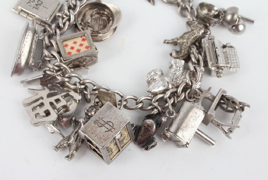 STERLING SILVER CHARM BRACELET WITH CHARMS - 3