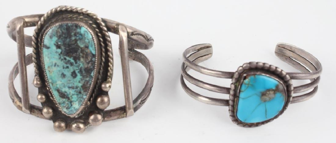 PAIR OF STERLING SILVER TURQUOISE CUFF BRACELETS