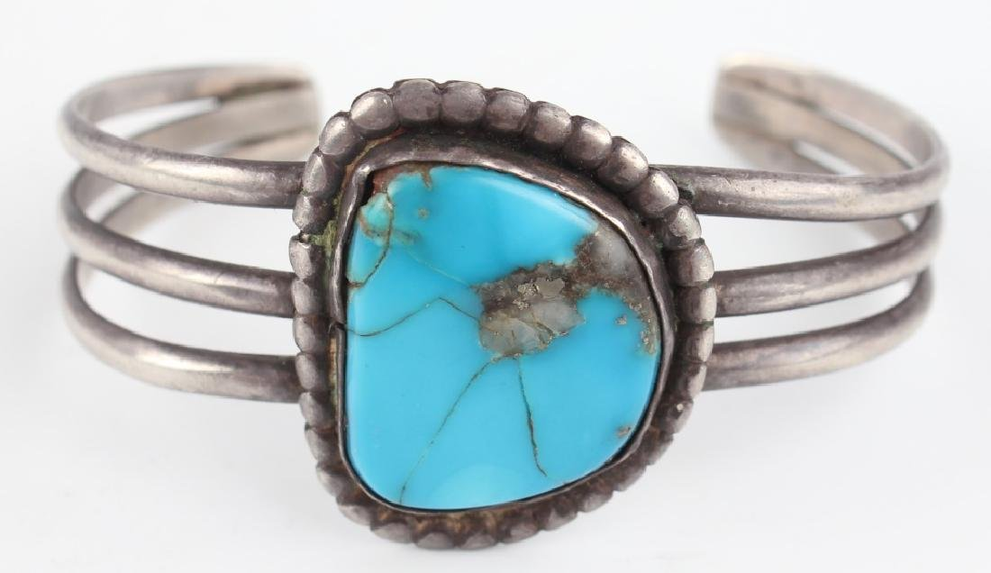 PAIR OF STERLING SILVER TURQUOISE CUFF BRACELETS - 4