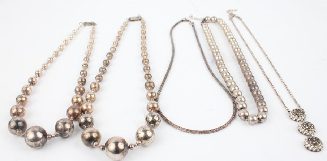 STERLING SILVER FASHION NECKLACES - LOT OF 5