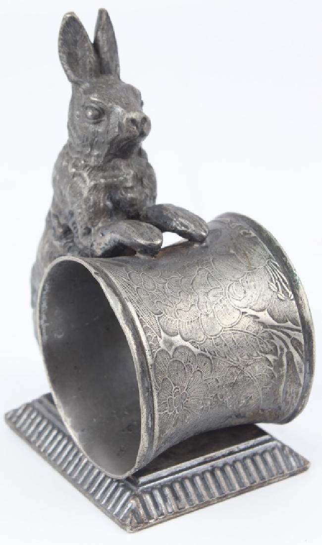 QUADRUPLE SILVER PLATED RABBIT NAPKIN RING