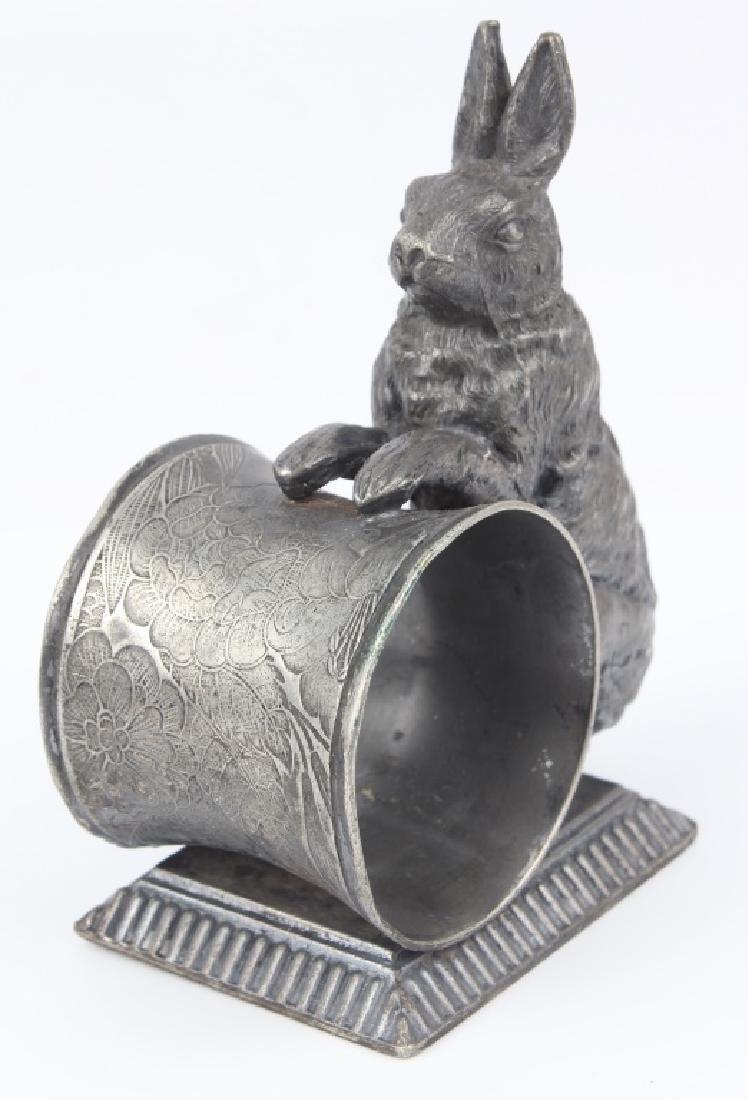 QUADRUPLE SILVER PLATED RABBIT NAPKIN RING - 2