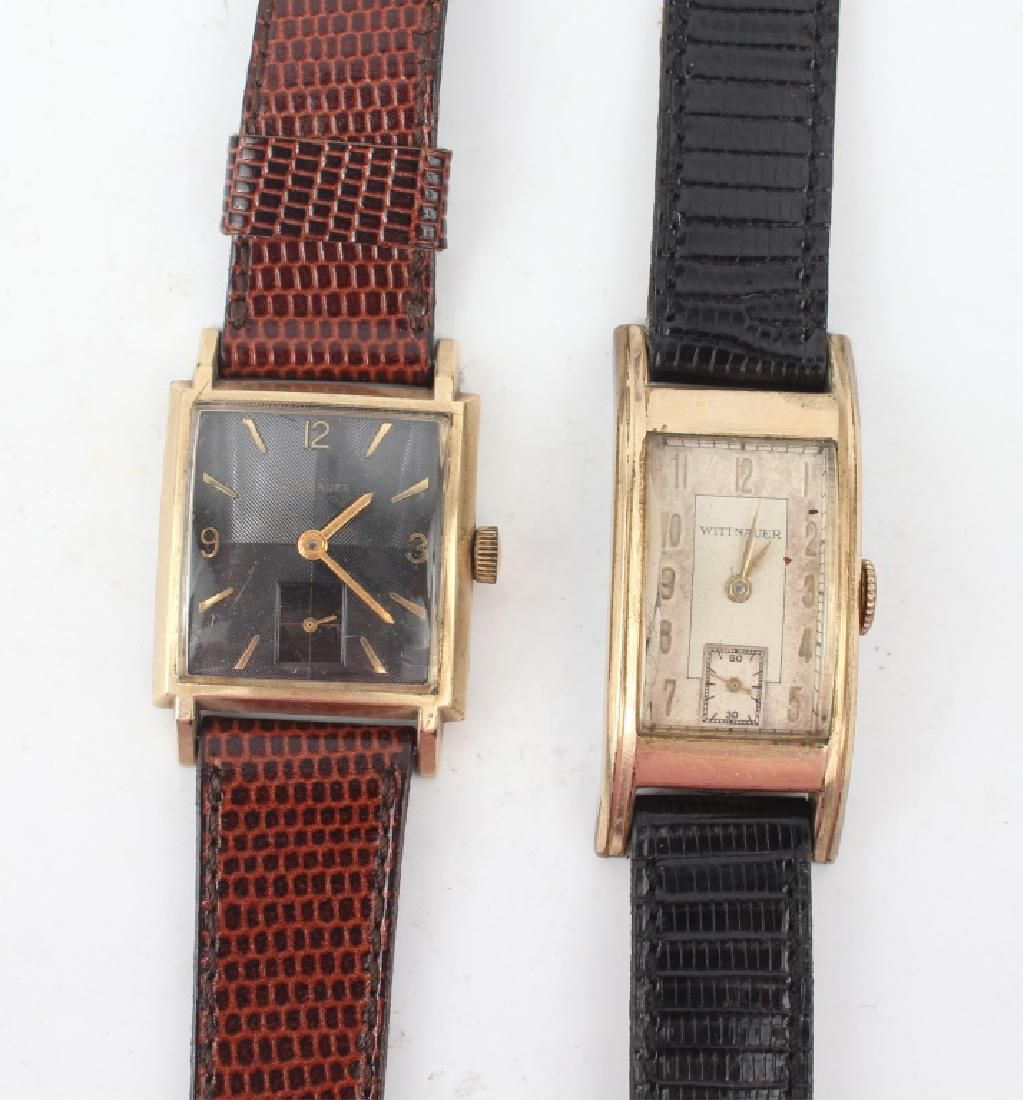 TWO MEN'S WITTNAUER GOLD PLATED WRISTWATCHES