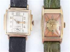 TWO MEN'S ANTIQUE GOLD FILLED WRISTWATCHES