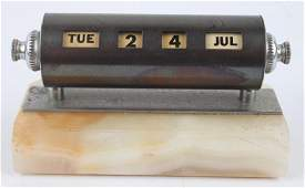 PERPETUAL BARREL DESK CALENDAR MOUNTED ON STONE