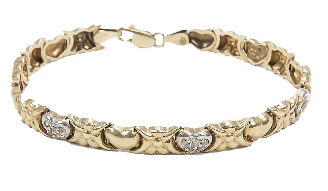 LADIES 10K YELLOW GOLD DIAMOND XO HEART BRACELET