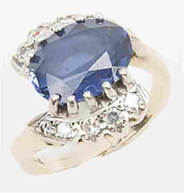 LADIES 14K YELLOW GOLD DIAMOND SAPPHIRE RING