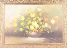 MODERN SIGNED OIL ON CANVAS FLORAL STILL LIFE