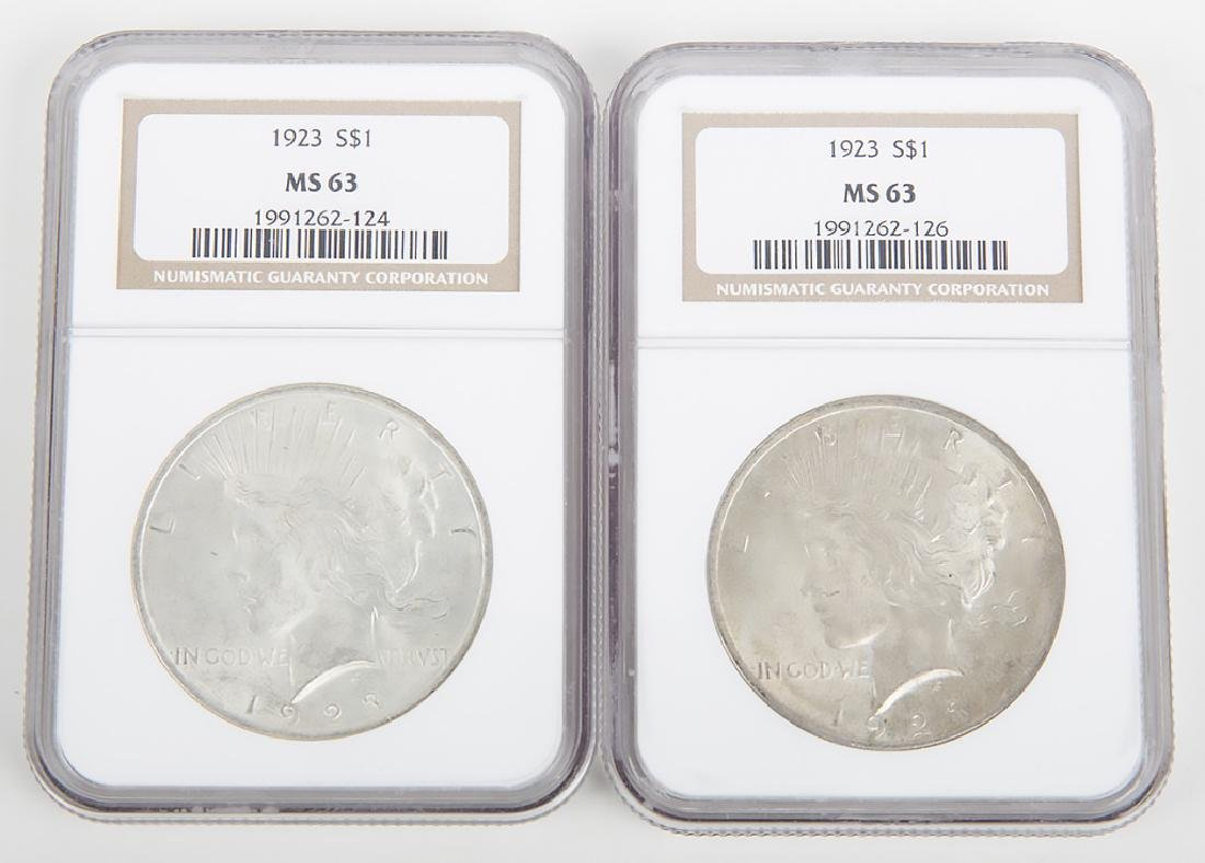 1923 PEACE DOLLARS NGC CERTIFIED MS63 -- LOT OF 2