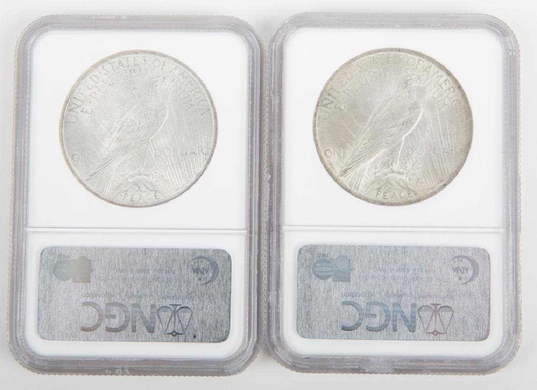1923 PEACE DOLLARS NGC CERTIFIED MS63 -- LOT OF 2 - 2