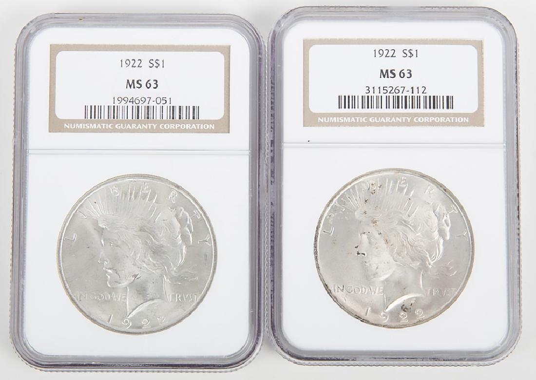 1922 PEACE DOLLARS NGC CERTIFIED MS63 -- LOT OF 2