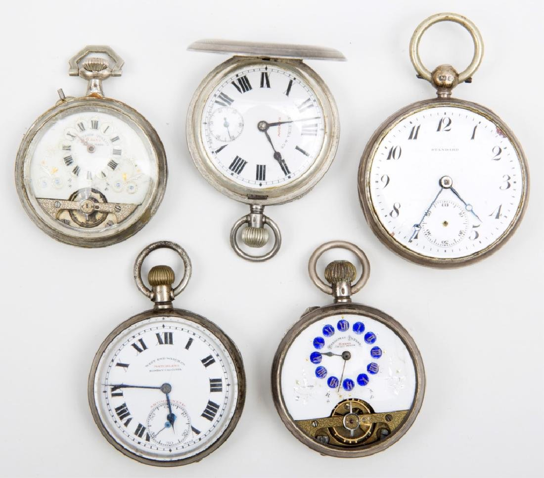 5 MEN'S STERLING SILVER CASED POCKET WATCHES