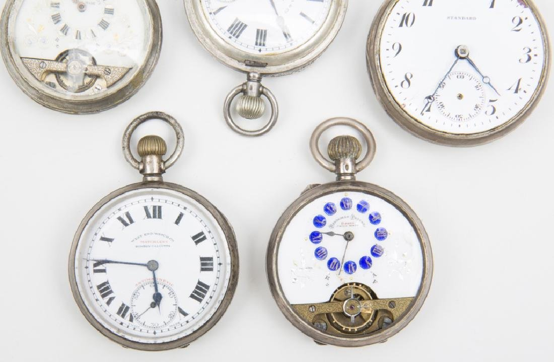 5 MEN'S STERLING SILVER CASED POCKET WATCHES - 2