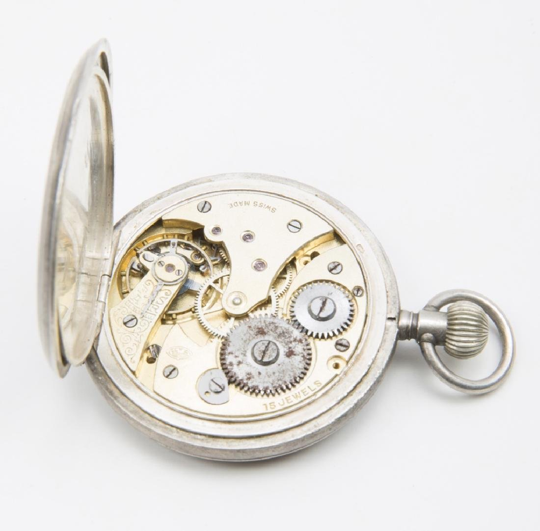 5 MEN'S STERLING SILVER CASED POCKET WATCHES - 7