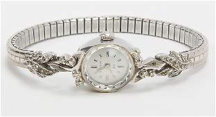 14K WHITE GOLD LADIES BULOVA DIAMOND WRISTWATCH