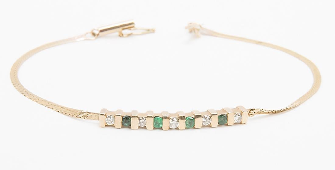 LADIES 14K YELLOW GOLD EMERALD DIAMOND BRACELET